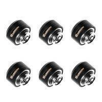 Barrow G1/4 - 14mm OD Twin Seal Hard Tube Compression Fitting (Smooth) - Black (6 Pack)