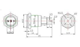 Lamptron 16mm RING White Latching Illuminated Switch Silver