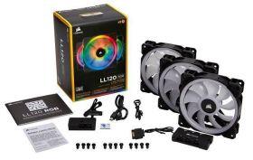Corsair LL120 RGB 120mm Dual Light Loop RGB LED PWM Fan — 3 Fan Pack with Lighting Node PRO