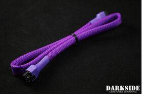 "DarkSide 45cm (18"") SATA 2.0/3.0 7P 180° to 180° cable with latch - Purple UV"