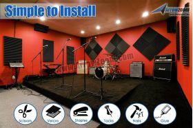 Arrowzoom Acoustic Panels Sound Absorption Studio Soundproof Foam - Wedge Tiles - 25 x 25 x 5 cm