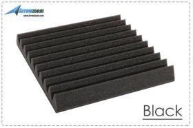 Arrowzoom Acoustic Panels Sound Absorption Studio Soundproof Foam - Wedge Tiles - 50 x 50 x 5 cm - Black