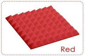 Arrowzoom Acoustic Panels Sound Absorption Studio Soundproof Foam - Pyramid Tiles - 25 x 25 x 5 cm Red