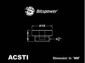 "Bitspower G1/4"" Crystal Stop Fitting I With 5MM LED Hole - BP-ACSTI-BK"