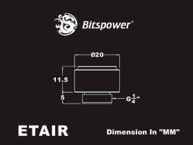 "Bitspower G1/4"" Carbon Black AIR-Exhaust Fitting - BP-CBETAIR"