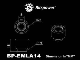 """Bitspower G1/4"""" Matt Black Advanced Multi-Link For OD 14MM - BP-MBEMLA14"""