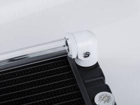 """Bitspower Deluxe White Enhance Rotary G1/4"""" 90-Degree Multi-Link Adapter For OD 16MM"""