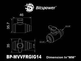 "Bitspower True Brass Mini Valve Rotary G1/4""& Inner G14""With Black Handle"