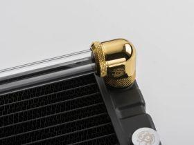 """Bitspower True Brass Enhance Rotary G1/4"""" 90-Degree Multi-Link Adapter For OD 16MM"""