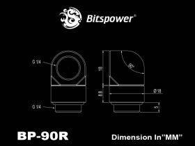 Bitspower G1/4 True Brass Rotary 90 Degree IG1/4 Adapter - BP-TB90R