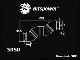 Bitspower G1/4 Black Sparkle Five Rotary Snake-Style Dual IG1/4 Adapter BP-BSSR5D Technical Drawing