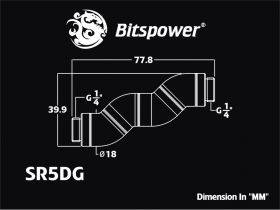 """Bitspower Black Sparkle Five Rotary Snake-Style Dual G1/4"""" Adapter Technical Drawing"""