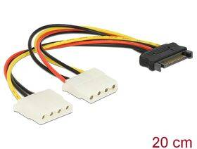 Power SATA 15pin > 2x 4pin Molex female Cable