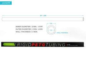 PrimoChill 1/2in. Rigid PETG Tube – 6 x 30in. – UV Green - RTP12-630-UG