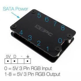XSPC 8 Way, 3Pin, 5V, Addressable RGB Splitter Hub - SATA Powered (Black)