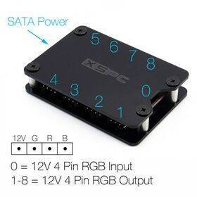 XSPC 8 Way, 4Pin, 12V RGB Splitter Hub - SATA Powered (Black)