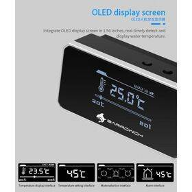 BarrowCH G1/4 Multimode OLED Display Heat Sensor Alarm with Intelligent Shutdown - Silver