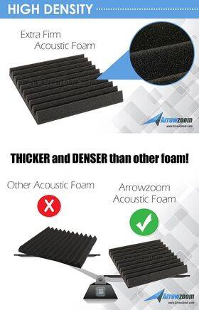 Arrowzoom Acoustic Panels Sound Absorption Studio Soundproof Foam - Pyramid Tiles - 25 x 25 x 5 cm