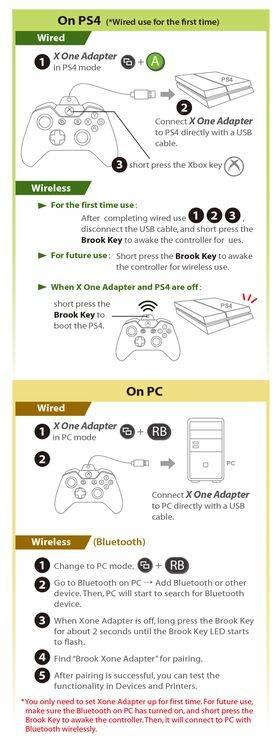 Brook X One Adapter - Xbox One to Switch/PS4/PC (XID) with Battery Pack