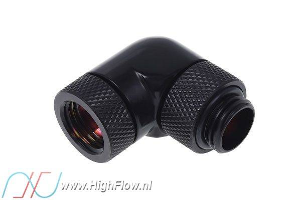 Alphacool 17057 Angled Adaptor 90/° revolvable G1//4 Outer Thread to G1//4 Inner Thread deep Black Water Cooling Fittings